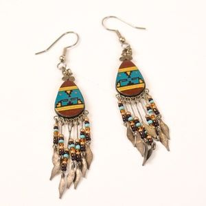 Vintage Native Southwest Boho Beaded Earrings